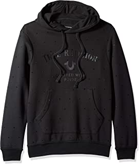True Religion Men's Rhinestone Long Sleeve Hooded Pullover