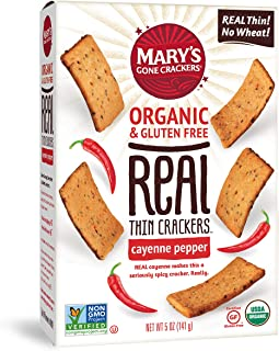 Mary's Gone Crackers Real Thin Crackers, Made with Real Organic Whole Ingredients, Gluten Free, Cayenne Pepper, 5 Ounce (Pack of 6)