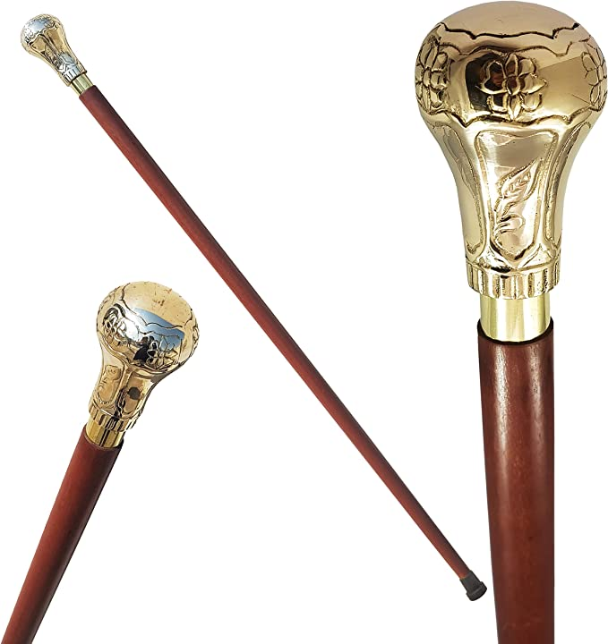 Men's Steampunk Accessories: Googles, Cane, Gloves The New Antique Store - Knob Handle Wooden Walking Stick Cane with Rosewood Stick (Shining Brass Brass)  AT vintagedancer.com