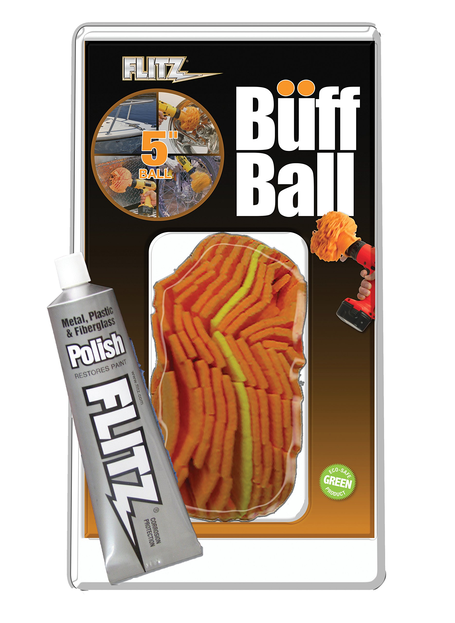 Flitz PB 101-50 Buff Ball Car Buffer Drill Attachment with Self-Cooling Design That Never Scorches or Burns + No Exposed Hardware to Prevent Scratches, Buff and Polish Any Surface, Machine Washable, 5 Inch,Orange