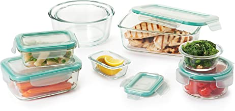 OXO 11179600 Good Grips 16 Piece Smart Seal Leakproof Glass Food Storage Container Set,Clear