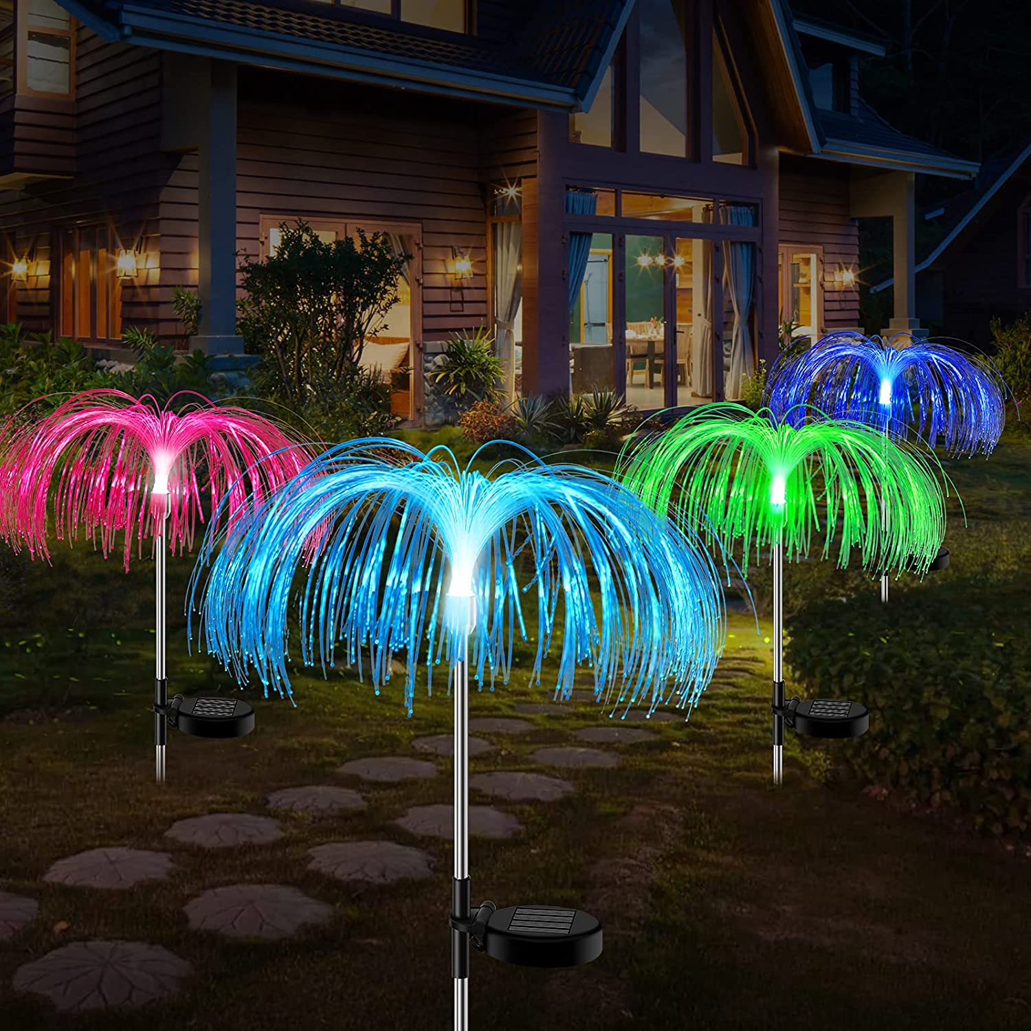 Solar Garden Lights Outdoor 4 Pack, Upgraded 7 Color Changing Solar Lights Outdoor Decorative, Garden Decorations Waterproof Solar Optical Fiber Light for Yard Patio Pathway Holiday Christmas Decor