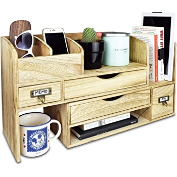"Ikee Design Large Adjustable Wooden Desktop Organizer For Office Supplies, Storage Shelf Rack Book Shelf, Stationary Compartment Holder, 17 1/4""W x 7 1/2""D x 12""H"