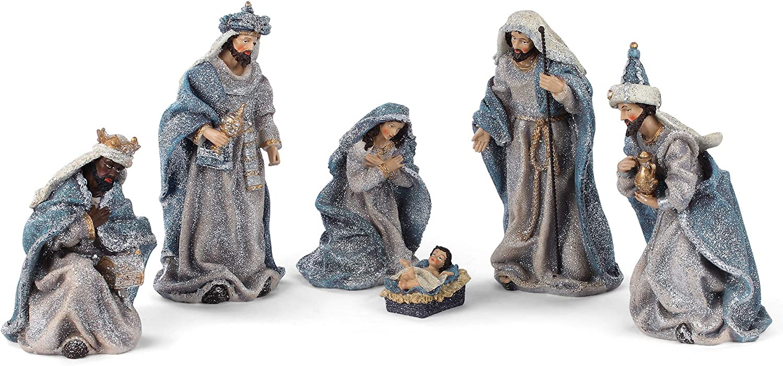 Austin New York Mall Mall Sentimental Blue Vintage Nativity 10.5 Decorati Resin inch Stone