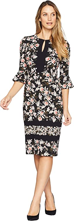 Vine Flower Border Printed Scuba Crepe Midi Sheath Dress