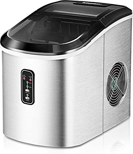 Euhomy Ice Maker Machine Countertop, 26 lbs in 24 Hours, 9 Cubes Ready in 8 Mins, Electric ice maker and Compact pota...