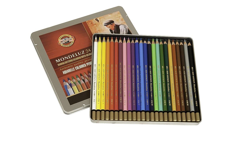 Koh-I-Noor Mondeluz Aquarelle Watercolor Pencil Set, 24 Assorted Colored Pencils in Tin, 1 Each (FA3724.24)