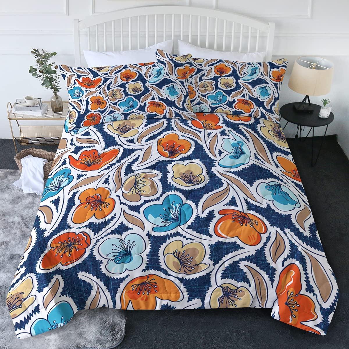 BlessLiving New item Floral Comforter Set Denim Max 65% OFF Color Bed Classic