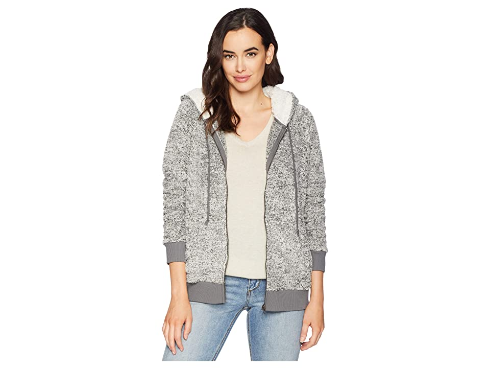 Dylan by True Grit Ultra Soft and Cozy Sweater Fleece Zip Jacket with Hood (Charcoal) Women