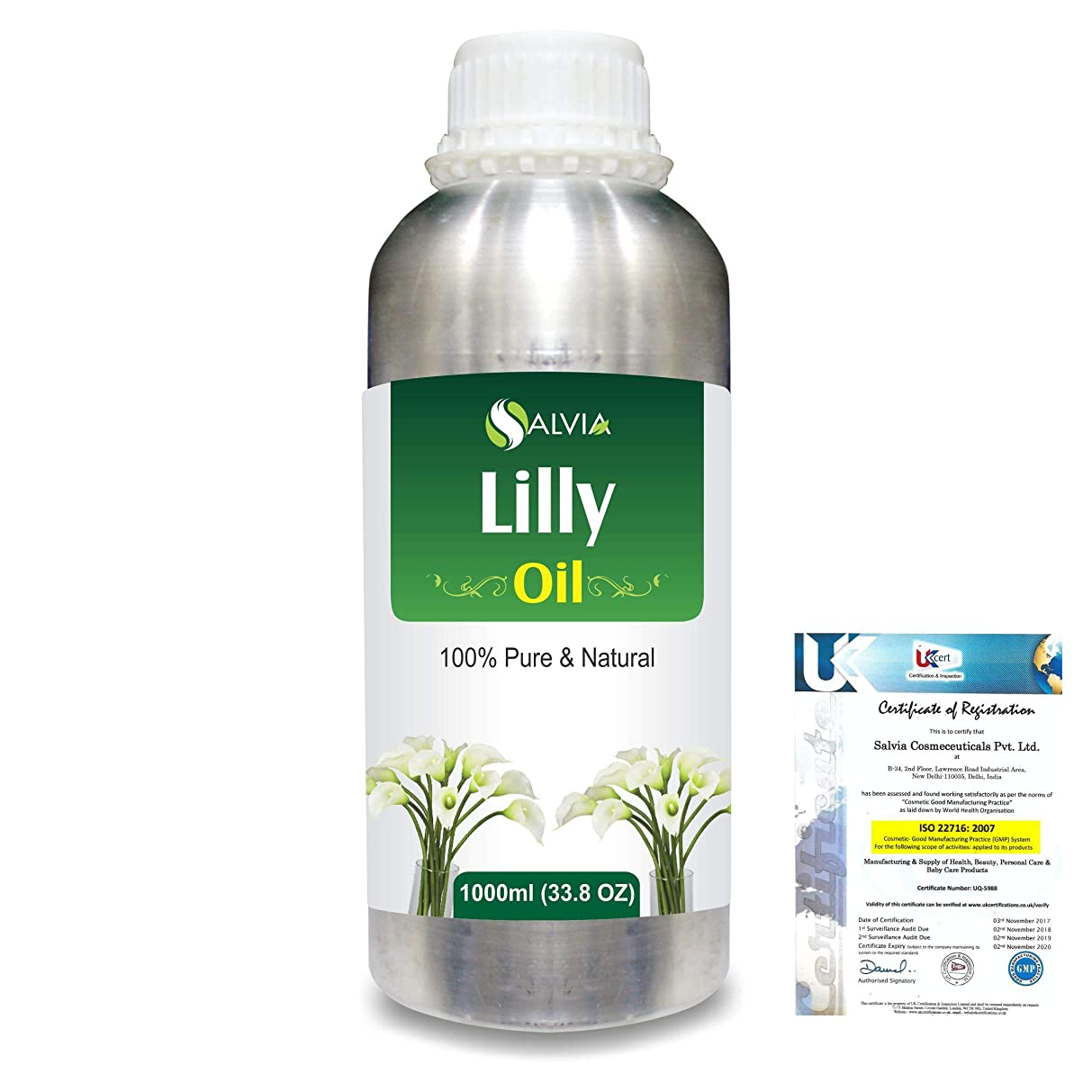 先住民食器棚ラップLilly (Lilium auratum) 100% Natural Pure Essential Oil 1000ml/33.8fl.oz.