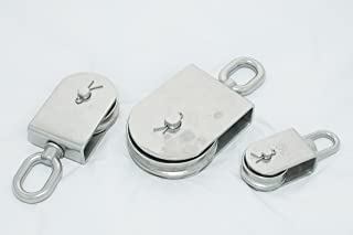 Type 316 Stainless Steel Swivel Eye Pulley Block, Brass Bushing, For up to 1/2