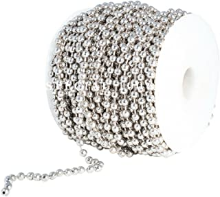 Ball Chain Spool 5mm Bead Diameter, Large Nickel Plated Steel 100 Feet (33 Yards) Included 30 Pc Matching 5mm connectors b...