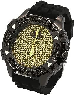 Mens Black Case Metal Gold Dial Techno King Hip Hop Fashion Black Silicone Quartz Wrist Watches