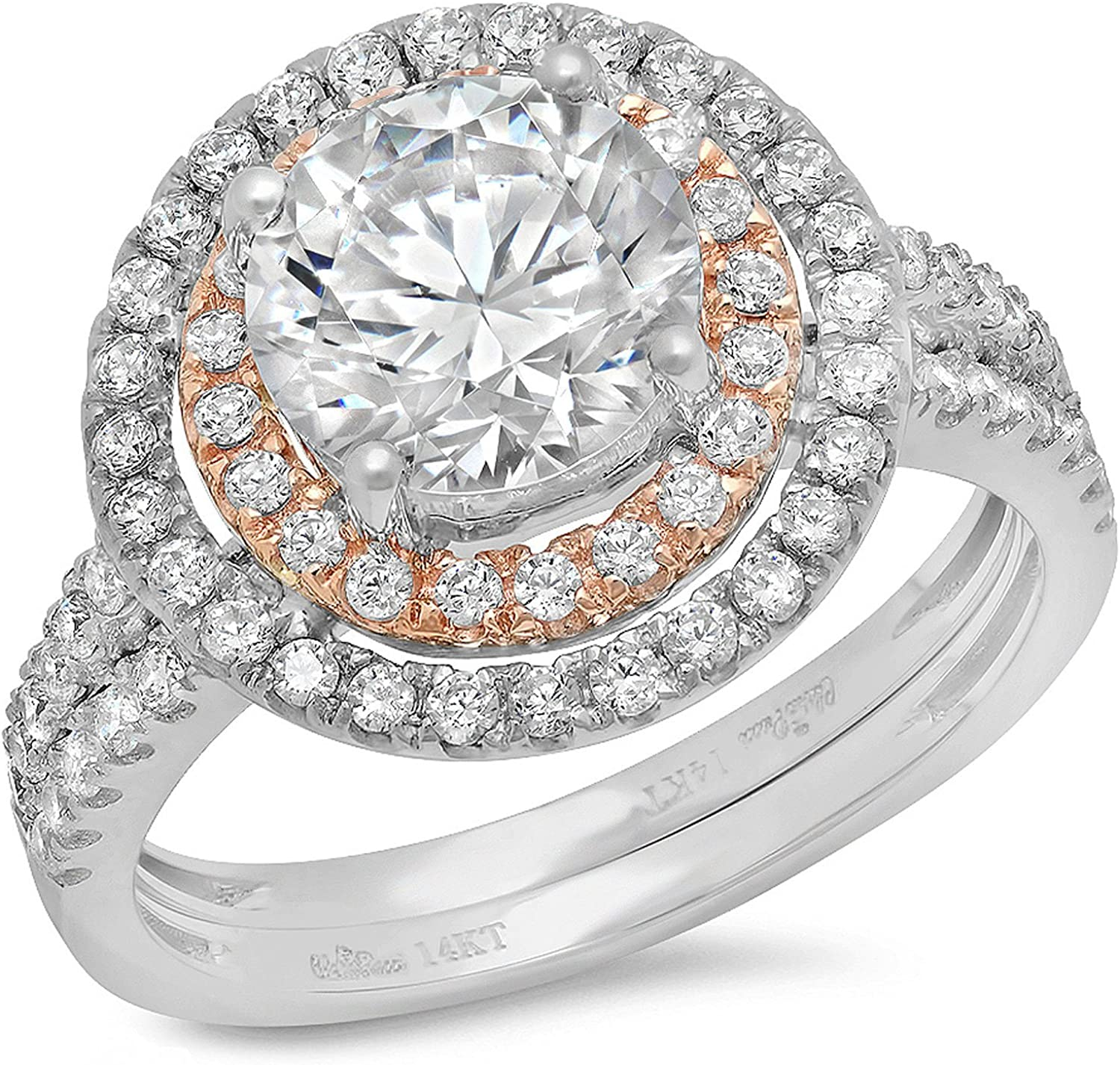 2.95ct Round Cut Halo Pave Solitaire Halo Accent Stunning Genuine Moissanite & Simulated Diamond Engagement Promise Statement Anniversary Bridal Wedding Ring Band set Solid 14k White Rose Gold