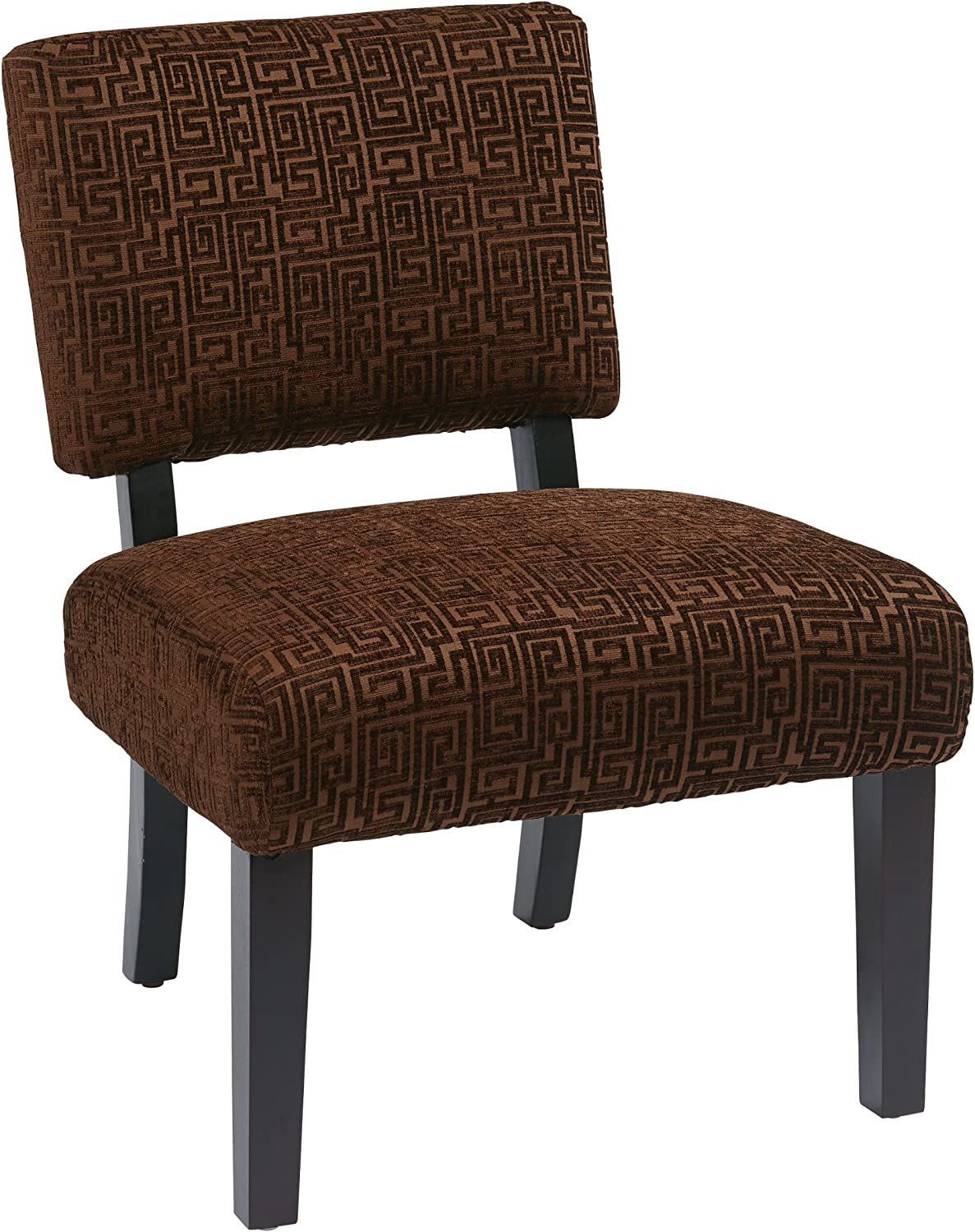 AVE SIX Jasmine Accent Chair with Espresso Finish Solid Wood Legs, Maze Chocolate