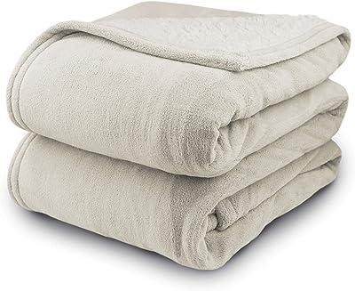 Biddeford マイクロプラッシュ シェルパ素材 アナログ式電気毛布 ツイン フル クイーン キング フル ベージュ 2061-9032138-780