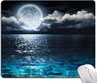 Ocean and Moon Mouse Pad, Moon Illuminating The Clear Blue Ocean Design Mouse Pad, Mouse Mat Square Waterproof Mouse Pad N...