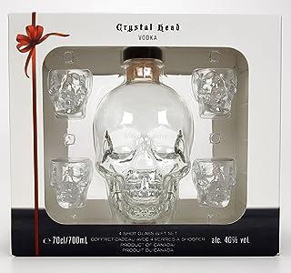 Crystal Head Set Geschenkset - Crystal Head Vodka 0,7l 700ml 40% Vol  4x Shotgläser -Enthält Sulfite