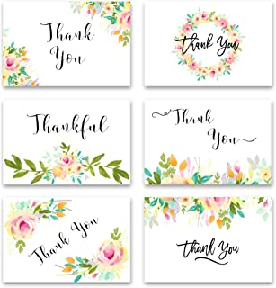 Thank You Cards- 48 Pack - 4x6 - Floral Thank You Cards - Blank Inside - Thank You Cards with Envelopes - Thank You Cards for Thanksgiving, Baby Shower, Birthday, Teacher, Anniversary, Business