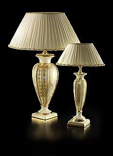 Ceramiche Stella, lampada Apollo beige piccola in ceramica oro e paralume in stoffa fatto a mano, beige con Swarovski, rif...