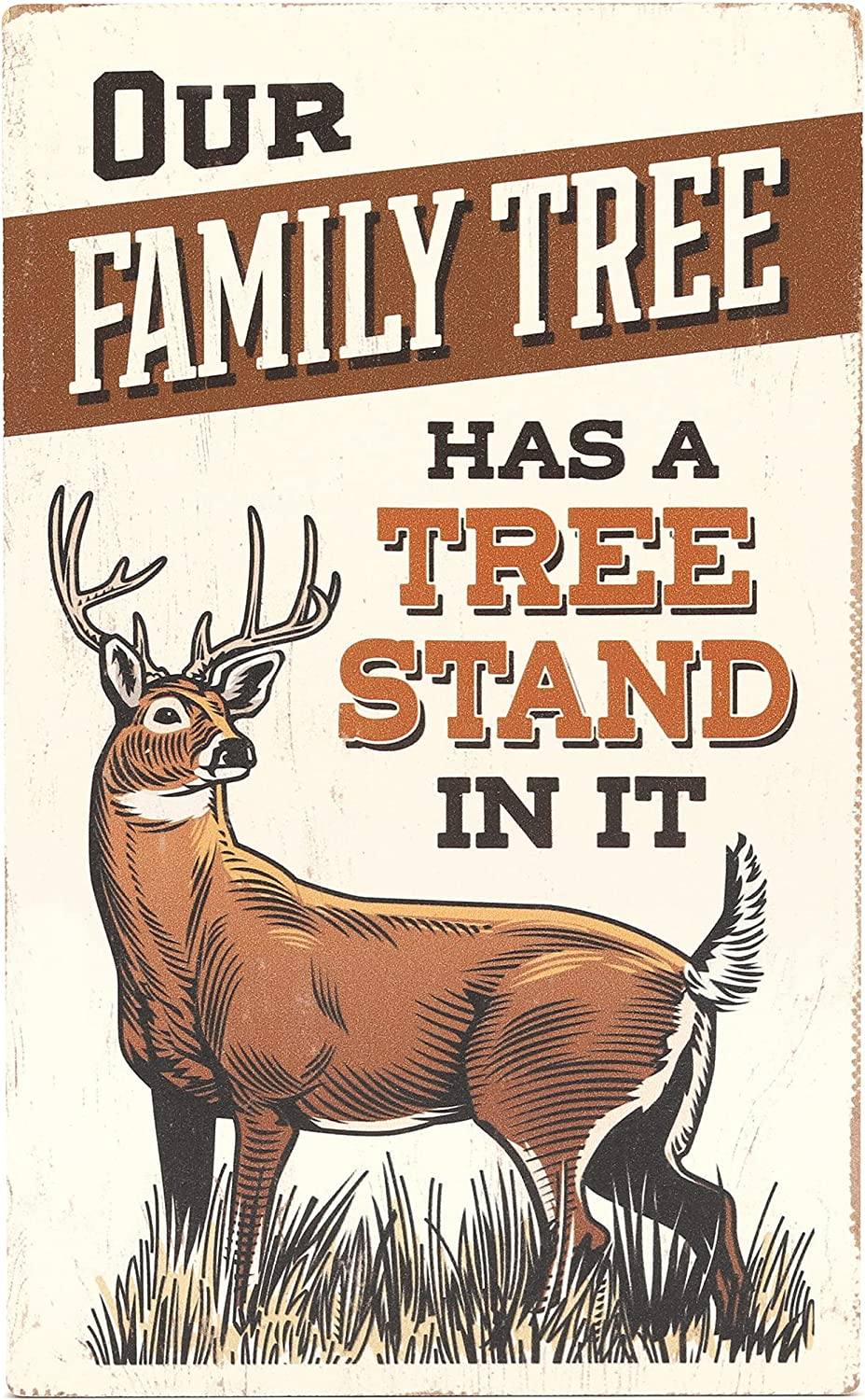 Open Road Brands Deer Hunting Wood Wall Decor - Our Family Tree Has a Tree Stand in It - Vintage Hunting Sign for Lodge, Man Cave, or Garage