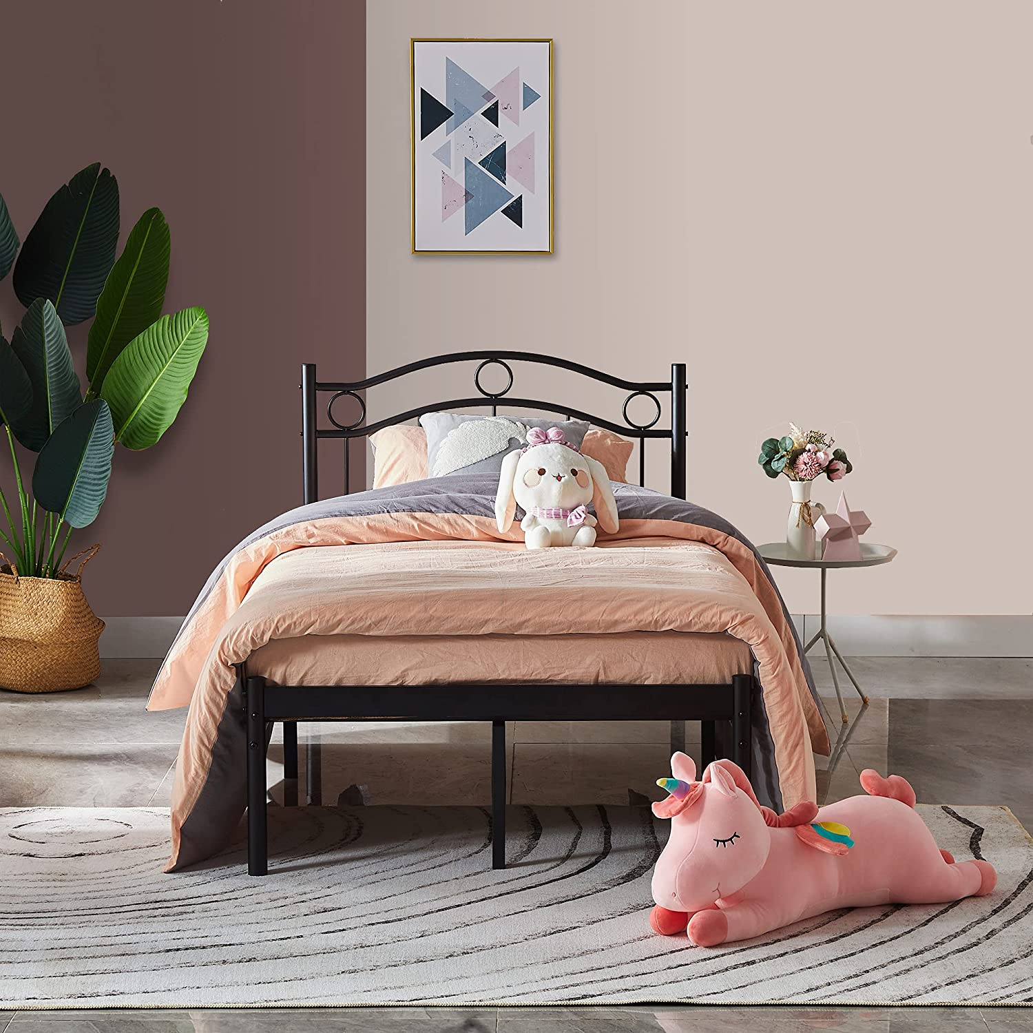 Limited price sale JAKOOLA High Twin Metal excellence Bed Frame with Styl in Vintage Headboard