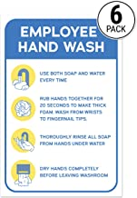 Employee Hand Wash Sign Guide Sticker (Pack of 6)