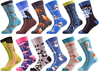 Men's Dress Party Crazy Colorful Funny Cotton Crew Socks Packs