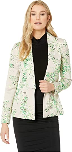 Floral Shawl Collar Open Soft Jacket