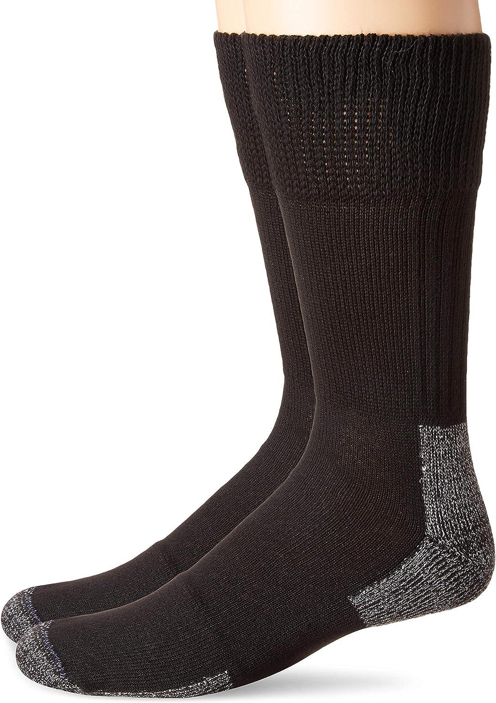 Dr. Scholl's Men's Advanced Relief Non-Binding Crew Socks 2 Pair, Black, Shoe Size: 7-12 (Large)