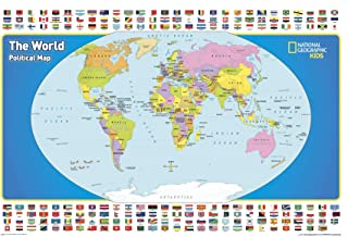 National Geographic The World for Kids Wall Map - 36 x 24 inches - Paper Rolled
