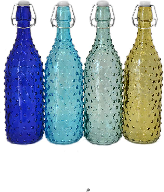 Set 4 Large Assorted Color 34oz Retro Hobnail Glass Water Bottles With Clasp Lid