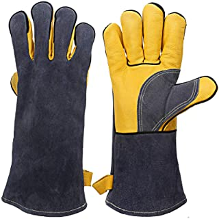 KIM YUAN Extreme Heat & Fire Resistant Gloves Leather with Kevlar Stitching,Perfect for Fireplace, Stove, Oven, Grill, Wel...