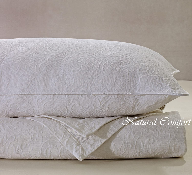 Natural Comfort Matelassé Blanket Coverlet, Queen, Victorian White