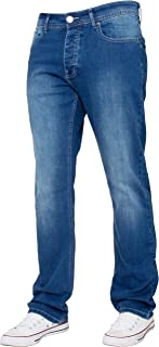 Enzo New Mens Stretch Straight Leg Regular Fit Classic Basic Denim Jeans