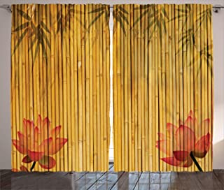 Ambesonne Bamboo House Decor Collection, Lined Up Bamboo Stems and Flower Silhouettes Shadow Eastern Tropical Exotic Image, Living Room Bedroom Curtain 2 Panels Set, 108 X 84 Inches, Red Cream