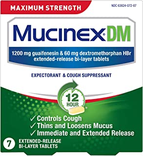 Cough Suppressant and Expectorant, Mucinex DM Maximum Strength 12 Hour Tablets, 7ct - 24 Pack, Relieves Chest Congestion, ...
