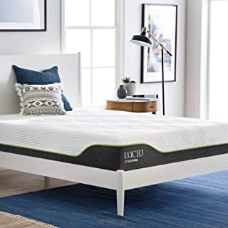 LUCID 10 Inch California King Latex Hybrid Mattress - Cooling Gel Memory Foam - Responsive Latex