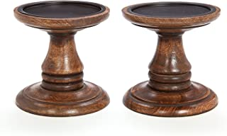 Hosley Set of 2 Brown Wood Pillar Holders 5 Inch High. Ideal Gift for Home Wedding Spa and Aromatherapy Settings. O3