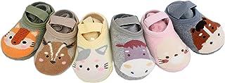 Juego de 6 pares de calcetines de tobillo antideslizantes de algodón grueso para bebé niño y niña