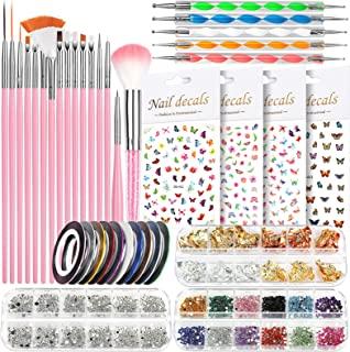 Nail Art Brushes, Nail Dotting Tools, Nail Dust Brush, Teenitor Nail Art Kit for beginners, Butterfly Nail Art Stickers, N...