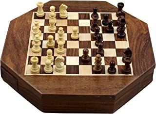 RoyaltyRoute Magnetic Octangle Shape Chess Pieces Set and Wooden Board Travel Games with Storage 9 Inches - Christmas Gifts for Kids, Adults & Children