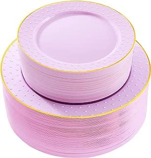 102pcs Disposable Plastic Plates Purple Plastic Plates with Gold rim Durable Plastic Plates Heavy Duty 51 Dinner Plates and 51 Dessert Plates, Supernal