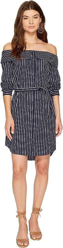 Oxford Stripe Off Shoulder Shirting Dress KS8K9673