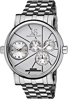 Joshua & Sons Men's Dual Time Multifunction Watch - 3 Subdials and 2 Time Zones On Stainless Steel Bracelet - JS-35