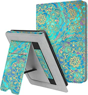 Fintie Stand Case for Kindle Paperwhite (Fits All-New 10th Generation 2018 / All Paperwhite Generations) - Premium PU Leather Protective Sleeve Cover with Card Slot and Hand Strap, Shades of Blue