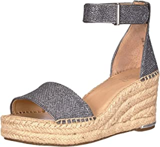 Franco Sarto Women's Clemens 2 Espadrille Wedge Sandal, Dark Silver Fabric, 10 W