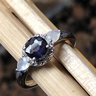 Natural 1ct Iolite, Rainbow Moonstone 925 Solid Sterling Silver Engagement Ring Size 6, 6.75, 7, 7.75, 8