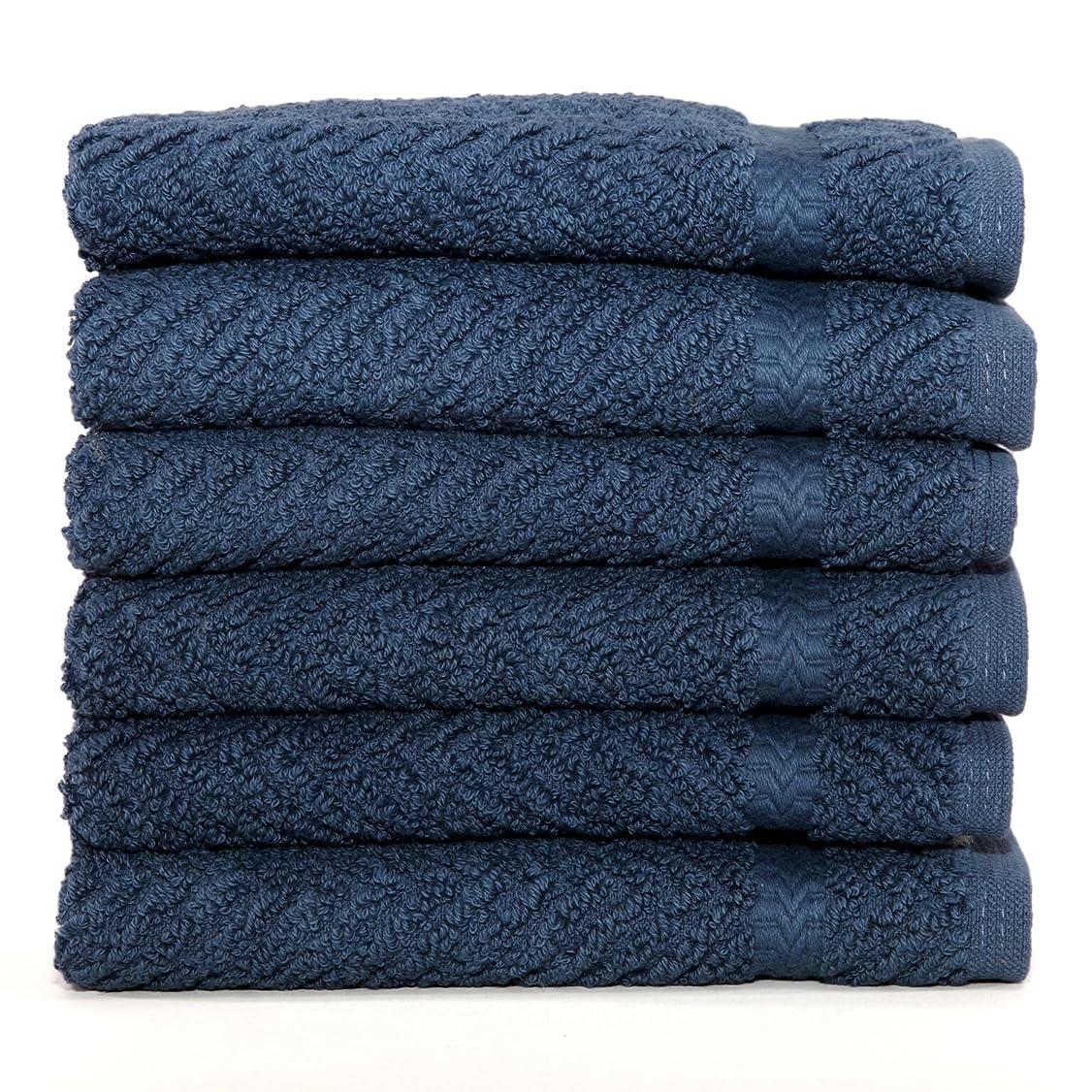その結果スクリーチ淡いHerringbone Weave 100% Turkish Cotton Washcloths (Set of 6) Colour: Midnight Blue