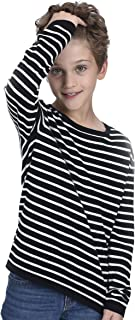 State Cashmere Kids Stripped Crewneck Sweatshirt Cashmere Cotton Blend Long Sleeve Base Layer Tee for Boys